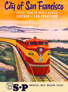San Francisco California S.P Vintage United States Travel Advertisement Poster
