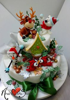 Christmas Cake Designs, Christmas Cake Topper, Christmas Cake Decorations, Christmas Cupcakes, Christmas Treats, Christmas Baking, Cake Icing, Eat Cake, Cupcake Cakes
