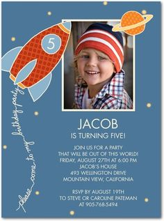 Birthday Party Invitations Space Explorer - Front : Moonstruck