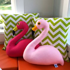 Say hello to Fred the Flamingo cushion or should that be Frederica?! Made of light pink acrylic felt this Flamingo cushion is full of personality