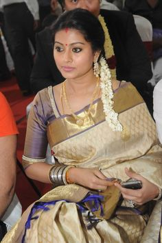Sneha in Cream Kanjiveram Saree with Gold Border and Shimmering Blouse with Pearl Work Indian Sarees, Silk Sarees, Saris, Kerala Saree, Indian Dresses, Indian Outfits, Indian Clothes, Sneha Actress, Purple Blouse