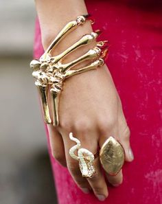 molten gold skeleton cuff and squirming snake ring x
