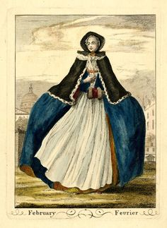 """Hand-coloured etching and engraving from a set of twelve fashion plates: 1749, """"February"""", London, """"A lady stnading looking to left, her hooped skirts swaying, with her left hand in a fur-trimmed muff, her left against her breast, wearing an apron, a fur-trimmed cape, fichu and a bonnet over a frilled cap tied under her chin,"""" """"Inscription Content: Lettered below the image with the title in English and French; etched in the image 'February'"""""""