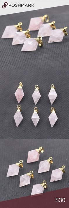 """COMING SOON- Diamond Shaped Rose Quartz Necklace Beautiful Genuine Rose Quartz in an electroplated gold plated setting. Chain is gold plated and lead and nickel free. Chain is 18"""" in length with a lobster clasp. Jewelry Necklaces"""