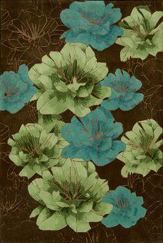 Joshua Blossom--chocolate, blue, green rug (nourison)