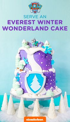 Bake this wonderful, wintry PAW Patrol birthday cake for your preschooler's Everest party! CING or snow, ready to go! Make this tasty, purple and teal cake recipe featuring your child's favorite husky pup, Everest. It's the perfect sweet dessert and centerpiece for your spread.