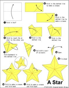 Origami Star – Start with any size square of midweight paper Origami Star St. - Origami Star – Start with any size square of midweight paper Origami Star Start with any size s - Origami Design, Diy Origami, Origami Simple, Origami Fish, Origami Tutorial, Origami Ideas, Origami Paper Size, Easy Origami Star, Dollar Origami