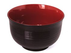 Minimalist's Black and Red Plastic Japanese Soup Bowl