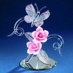 Glass Baron Crystal Butterfly With Pink Roses