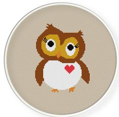 Buy 4 get 1 free ,Buy 6 get 2 free,Cross stitch pattern, PDF,owl always love you ,ZXXC0197. $5.00, via Etsy.