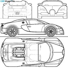 Bugatti Veyron Grandsport blueprints, vector drawings, clipart and pdf templates Bugatti Veyron, Conceptual Drawing, 3d Studio, Car Sketch, Car Drawings, 3d Max, Super Sport, Twin Turbo, Sport Cars