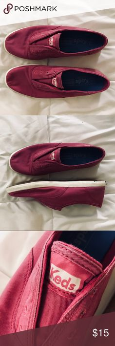 Pink Ked's Laceless Slip-On Sneakers Super cute and comfy slip-ons to wear to run errands or get brunch with your friends! Barely worn. Keds Shoes Sneakers