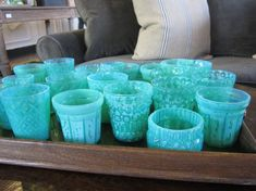 Turquoise glasses. What a wonderful collection. All sizes and shapes, the color makes them a collection. Imagine using these at your next  get together, or for everyday. Everyday is all we have. Sincerely, JoAnne Craft