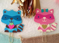 Racoon Planner Clip Bookmark paper clip by KittysGiftsNMore