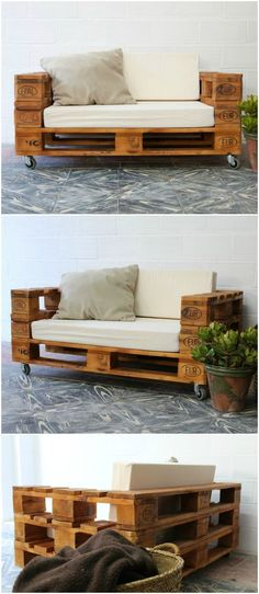 Pallet sofa with wheels. Sofa made with pallets. Furniture with pallet tables. Pallet furniture Pallet sofa with wheels and glass. Sofa made with pallets. Furniture with pallet tables. Furniture of pallets. Pallet Furniture Designs, Wooden Pallet Furniture, Wooden Pallets, Home Furniture, Furniture Ideas, Outdoor Furniture, Furniture Stores, Outdoor Couch, Pallett Garden Furniture