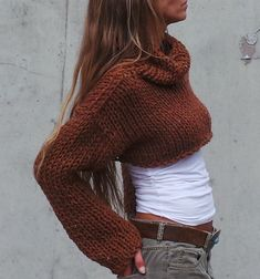 cropped sweater / shrug copper brown chunky cropped sweater / snug shrug / iLE AiYE/  DESIGN RIGHTS BELONG TO iLE AiYE 2013 -FELLOW ARTISANS PLEASE BE RESPECTFUL - Snuggle with a snug shrug MADE TO ORDER PLEASE ALLOW 10 - 14 DAYS FROM ORDER TO DISPATCH This snug shrug / cropped sweater is born for the need to feel snug and cozy when the seasons change or the air cools down in the evening/morning. A simply comfy lightweight cropped copper brown sweater. knitted with a chunky 10% wool, 20%…