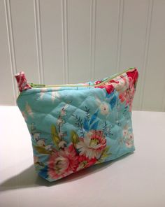 Quilted aqua and roses makeup bag by PhoebeMade on Etsy, $15.00