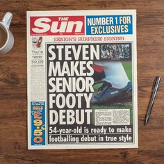Personalised Spoof The Sun Newspaper Article - Football's Oldest Signing | GettingPersonal.co.uk