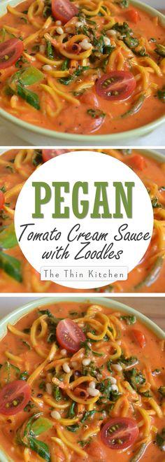 Tomato Cream Sauce with Zoodles: Dairy-Free, Vegan, Vegetarian, Grain-Free, Gluten-Free, Pegan (Paleo Vegan)