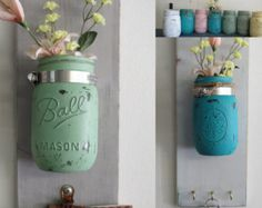 Shabby Wood Wall Pocket Candle or Vase Key or Note Holder Mason Ball Jar Chalk Blended Paint Customize Colors Wall Scones Cottage Sold on etsy, but what is holding them up are large hose clamps! How far can you go with this idea? Paint Keys, Chalk Paint, Sell On Etsy, My Etsy Shop, Ball Jars, Wall Pockets, Mason Jar Lamp, Wall Colors, Painting On Wood