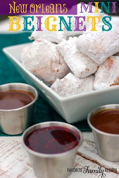 Our delicious New Orleans Mini Beignets are a fun to make during Mardi Gras or anytime of year. We discovered beignets on a visit to New Orleans and have also enjoyed them each time we visit the Disney parks. Köstliche Desserts, Delicious Desserts, Dessert Recipes, Yummy Food, Dessert Sauces, Beignets, Jambalaya, Beignet Recipe, Macarons