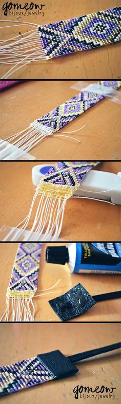 finition bracelet tissé perles