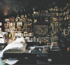 I aspire to pretty much live in a bookstore on day. However, none of the books will be for sale. Library Bedroom, Library Books, Attic Library, Cozy Library, Bedroom Bookshelf, Bookshelf Wall, Library Ideas, Mini Library, Library Wall