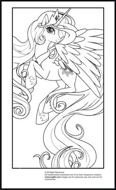 My Little Pony Princess Celestia Coloring Pages | Team colors