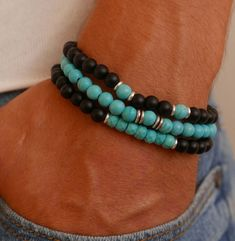 Men's Bracelet Set - Men's Beaded Bracelet - Men's Gemstone Bracelet - Men's Jewelry - Men's Gift - Husband Gift - Boyfriend Gift - Men's style, accessories, mens fashion trends 2020 Gemstone Bracelets, Bracelet Set, Bracelets For Men, Fashion Bracelets, Fashion Jewelry, Guy Jewelry, Jewelry Gifts, Handmade Jewelry, Diy For Men