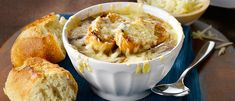 This classic French Onion Soup is made easy using Campbell's Ready-To-Use Less Sodium beef broth, onions, red wine, balsamic vinegar, Gruyere & Parmesan. Classic French Onion Soup, Great Recipes, Favorite Recipes, Yummy Recipes, Recipies, Campbells Recipes, Onion Soup Recipes, Soup And Sandwich, Recipes