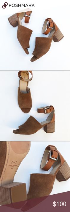 Marc Fisher Robe2 Block Heel City Sandal ‣‣❊‣‣‣‣❊‣‣ NO TRADES ‣‣❊‣‣‣‣❊‣‣ ⠀ ☾Marc Fisher Robe2 block heel city sandal in the color cognac brown. A city sandal with peep-toe, the Robe2 is designed with mixed media materials, stacked heel and buckle closure at the ankle. Retail $160. Last two photos are blogger Jasmine Tosh and used solely to show styling ✌🏼 Marc Fisher Shoes Heels