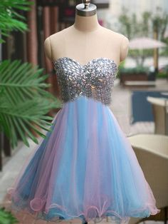 Short/Mini Sweetheart Fabulous Multi Colours Organza with Crystal Detailing Homecoming Dress