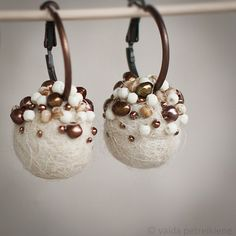 Ivory, Brown and Copper Earrings with Felt and Pearls - More - | Flickr - Photo Sharing!