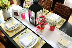 Kate of Studio LIME Design sent me these pics of a pretty brunch she hosted for mother's day.  The simple modern design would work perfectly for any ladies get-together and has some ideas that are easy to re-create.  I particularly like the pink and yellow color combo, and the recycled cans painted, tied with ribbon, and filled …