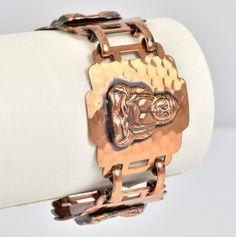 Vintage Bracelet 1950s Wide Copper Repousse Buddha.