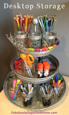 Cute idea! Clever Desktop Storage | Fabulously Organized.  You could add some cute material to cutie it up