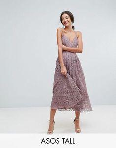 3ddf278561 Shop ASOS TALL Lace Cami Midi Prom Dress at ASOS. Discover fashion online.  Asos