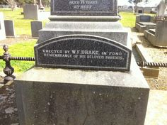 Headstone John & Susannah Drake    Also on headstone Bellarine Cem. Vic.; Erected by W.F. Drake in fond remembrance of his beloved parents.
