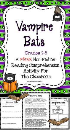 FREE Vampire Bats Reading Comprehension Activity For The Classroom! Happy Halloween!!! #tpt #halloween #free