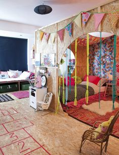 What a cool space. Can you imagine as a kid having that for your room!? Dream Rooms, Bohemian Kids, Bohemian House, Bohemian Style, Bohemian Nursery, Bohemian Decor, Play Corner, Girls Bedroom, Bedroom Decor