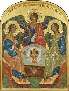 The Holy Trinity ( by Prosopon School ) Religious Images, Religious Icons, Religious Art, Byzantine Art, Byzantine Icons, Paint Icon, Saint Esprit, Russian Icons, Biblical Art