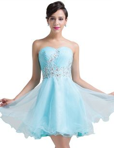 2b1d44f5bf9 Ball Strapless Corset Short Baby Blue Tulle Applique Cocktail Prom Dress