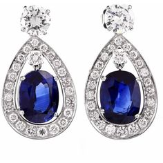 Preowned Certified Sapphire Diamond Platinum Drop Earrings (76 245 AUD) ❤ liked on Polyvore featuring jewelry, earrings, blue, diamond pendant, sapphire drop earrings, blue diamond pendant, diamond drop earrings and blue sapphire pendant