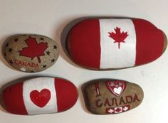 Painted by Michele Donohue, Canada Day painted garden rocks Painted by Michele Donohue, Canada Day p Canada Day 150, Happy Canada Day, Canada Eh, Canada Memes, Rock Crafts, Arts And Crafts, Diy Crafts, Rustic Crafts, Stone Crafts