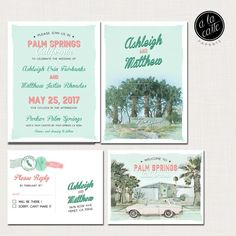 Destination wedding invitation Palm Springs California Desert Wedding Invitation Suite - Deposit Payment  ♥ Deposit Payment to begin work on your