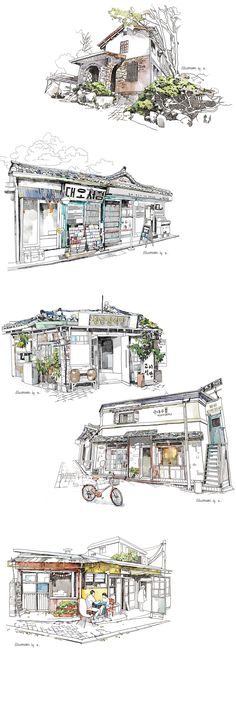 sketches in seoul (gyuseul Kim) Building Drawing, Building Sketch, Watercolor Architecture, Architecture Drawings, Pen And Watercolor, Watercolor Paintings, Drawing Sketches, Art Drawings, Landscape Sketch