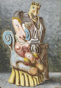 Alberto Savinio (Italian, 1891-1952), Gente perbene (I genitori) [Good People (Parents)], 1946. Tempera on cardboard, 49.6 x 34.4 cm