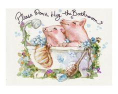 Please Don't Hog The Bathroom Pigs Giclee Print by sylvia pimental at Art.com