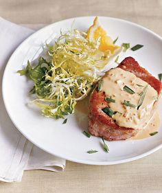 Pork Chops With Mustard Sauce | Give dinnertime a French flair with these simple, flavorful dishes.
