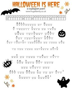 Free Printable Halloween Games - Cryptogram, a Maze and a Word Search. Spooky Halloween fun for a Halloween bash! Halloween Crossword Puzzles, Halloween Puzzles, Halloween Worksheets, Halloween Activities For Kids, Holiday Activities, Halloween Word Search Printables, Halloween Tags, Halloween Words, Halloween Coloring